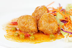 Meatballs with salad Royalty Free Stock Photos