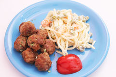 Meatballs and salad Royalty Free Stock Images