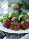 Meatballs and Salad Stock Photography