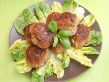 Meatballs with salad Stock Photos