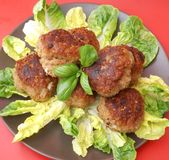 Meatballs with salad. Some fresh meatballs with salad royalty free stock image
