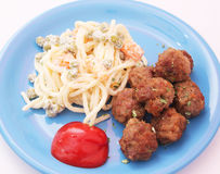 Meatballs and salad Royalty Free Stock Photography
