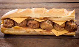 Meatballs sandwich Royalty Free Stock Images