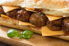 Meatballs in the sandwich Royalty Free Stock Photography