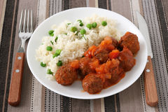 Meatballs with sauce and rice Royalty Free Stock Photos