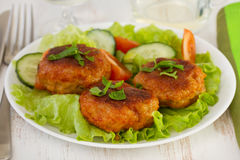 Meatballs with sauce and salad Royalty Free Stock Photography