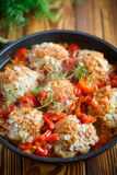 Meatballs in sauce with sweet pepper Royalty Free Stock Photography