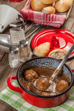 Meatballs in the sauce. Royalty Free Stock Photography