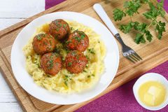 Meatballs served with hot mashed potato Royalty Free Stock Photo
