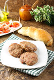 Meatballs served with inslata Royalty Free Stock Photos