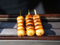 Meatballs with skewer on net for sale with selective focus Stock Photo