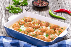 Meatballs smothered in a creamy gravy sauce, close-up Stock Images