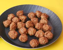 Meatballs. Some fresh meatballs in a pan stock image