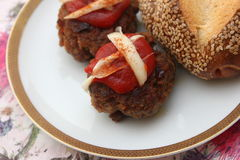 Meatballs. Some meatballs with ketchup of tomatoes and cheese Royalty Free Stock Image