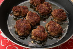 Meatballs. Some meatballs of minced meat in a pan Royalty Free Stock Photography