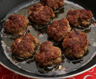 Meatballs. Some meatballs of minced meat in a pan Royalty Free Stock Images