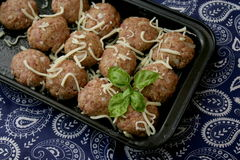 Meatballs. Some raw meatballs of minced meat with cheese royalty free stock image