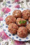 Meatballs. Some raw meatballs of minced meat with onions Stock Image