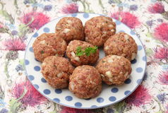 Meatballs. Some raw meatballs of minced meat with onions Stock Photo