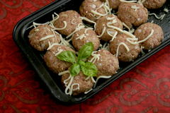 Meatballs. Some raw meatballs of minced meat with onions stock images