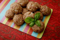 Meatballs. Some raw meatballs of minced meat with onions royalty free stock images