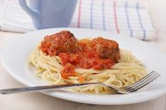 Meatballs and spaghetti stock image