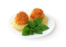 Meatballs with spaghetti Royalty Free Stock Photos