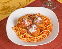Meatballs and Spaghetti Stock Photo