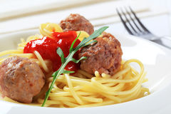Meatballs and spaghetti Stock Photos