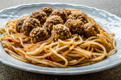 Meatballs with spaghetti bolognese in white plate. Royalty Free Stock Images