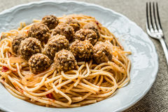 Meatballs with spaghetti bolognese in white plate. Stock Images