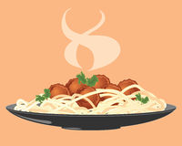 Meatballs and spaghetti. An illustration of a plate of freshly made meatballs with spaghetti and salad leaf and rising steam Royalty Free Stock Photography