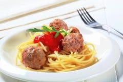 Meatballs and spaghetti Stock Photos