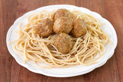 Meatballs with spaghetti in plate Royalty Free Stock Image