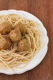 Meatballs with spaghetti in plate Stock Photos