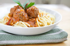 Meatballs with spaghetti in tomato Royalty Free Stock Photo