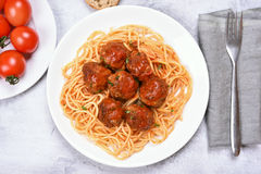 Meatballs and spaghetti Royalty Free Stock Images