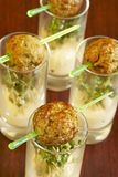 Meatballs with spicy sauce and mustard sp Stock Photo