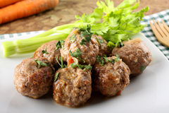 Meatballs stewed with vegetables Stock Photos
