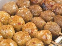 Meatballs on sticks stock photo