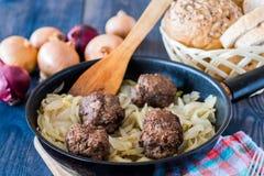 Meatballs stuffed with onion Stock Photos