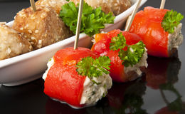 Meatballs and sweet peppers. Appetizer meatballs and sweet peppers with cream cheese Stock Photos