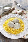 Meatballs with tagliatelli and white sauce Royalty Free Stock Photo