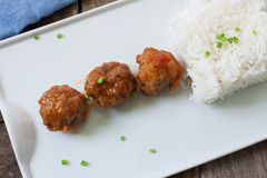 Meatballs tapa and rice Stock Photography