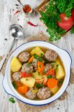 Meatballs in a thick vegetable soup Albondigas Royalty Free Stock Photography