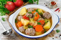 Meatballs in a thick vegetable soup Albondigas Stock Photography