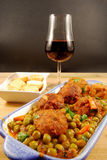 Meatballs with toasted bread and wine royalty free stock image