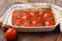 Meatballs with tomato royalty free stock photo