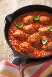 Meatballs with tomato sauce in black pan Royalty Free Stock Image