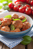 Meatballs with tomato sauce in bowl Stock Image